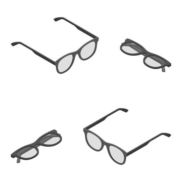 Vector isometric eyeglasses retro protection for reading and working