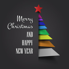 Merry Christmas with abstract Christmas tree vector. Colorful Christmas tree. Christmas greeting card vector design.