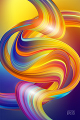 3d Colorful Abstract background with twisted shape of fluid or brush stroke of paint. Trendy design.