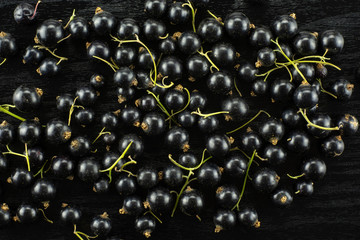 Fresh Raw Black Currant berry on black wood