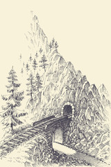 Railway, bridge and train tunnel in the mountains