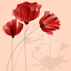 Fototapete - Red flowers background