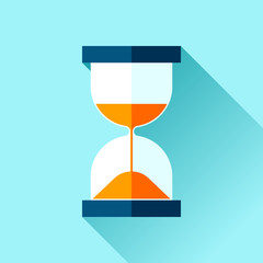 Hourglass icon in flat style, sandglass on blue background. Vector design elements for you business project
