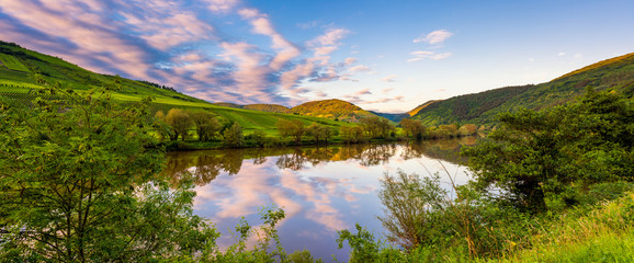 Panoramic view on the Mosel River in Germany at sunset in springtime