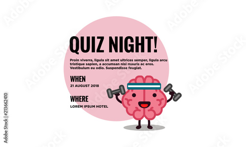 Quiz Night Poster With Brain Cartoon Vector Illustration With Text