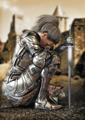 Female warrior knight kneeling wearing decorative metal armor with a castle in the background. 3d rendering