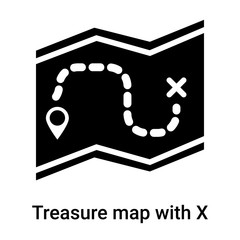 Treasure map with X icon vector sign and symbol isolated on white background, Treasure map with X logo concept