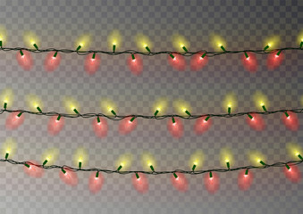 Christmas yellow red lights string. Transparent effect decoration isolated on dark background. Reali