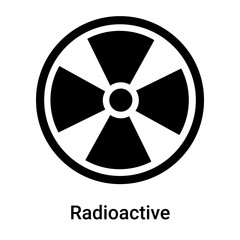 Radioactive symbol icon vector sign and symbol isolated on white background, Radioactive symbol logo concept