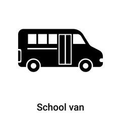 School van icon vector sign and symbol isolated on white background, School van logo concept
