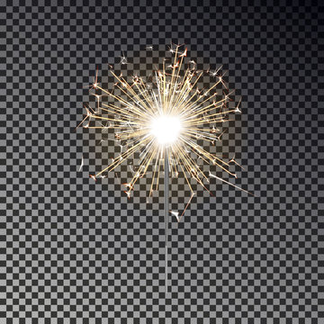 Bengal fire. New year sparkler candle isolated on transparent background. Realistic vector light eff