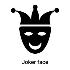 Joker face icon vector sign and symbol isolated on white background, Joker face logo concept