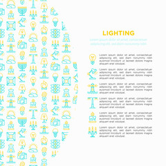 Lighting concept with thin line icons: bulb, LED, CFL, candle, table lamp, sunlight, spotlight, flash, candelabrum, bonfire, menorah, lighthouse. Modern vector illustration, print media template.