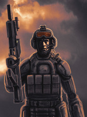 Space infantry with a heavy rifle.