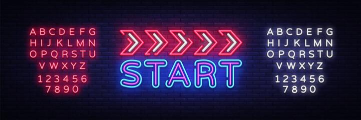 Fototapeta Start Neon sign vector design template. Start Race neon text, light banner design element colorful modern design trend, night bright advertising, bright sign. Vector. Editing text neon sign obraz