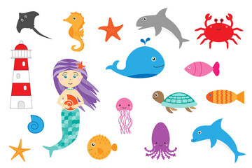 Learning ocean animals for children, fun education game for kids development, preschool worksheet activity, simple flat design, set of cartoon sea animals on white background, vector illustration