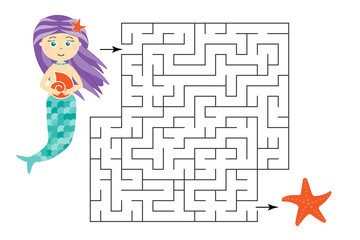 Labyrinth game, help the mermaid to find a way out of the maze, cute cartoon character, preschool worksheet activity for kids, task for the development of logical thinking, vector illustration