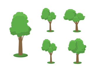 Collection of trees illustrations. Can be used to illustrate any nature or healthy lifestyle topic. Flowers, grass, big and small trees, leakage, bush, landscape, garden, park.