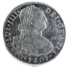 Ancient Spanish silver coin of the King Carlos IV. 1801. Coined in Potosi. 8 reales. Obverse.