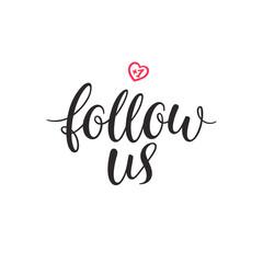 Follow us lettering