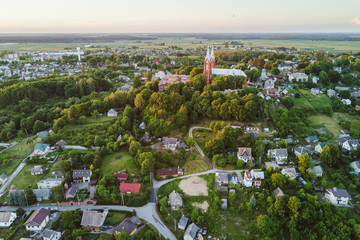 Drone aerial view of small city Vilkija in Kaunas county, Lithuania