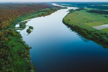 Drone aerial view of Nemunas river, a major Eastern European river