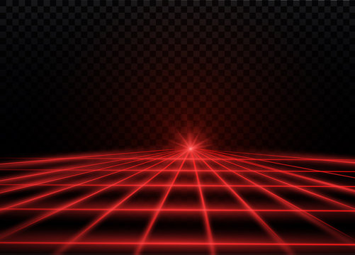 Abstract red laser beam. Transparent isolated on black background. Vector illustration.the lighting effect.floodlight directional.