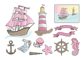 PINK SEA Travel Color Vector Illustration Set for Scrapbooking and Digital Print on Card And Photo Children's Albums