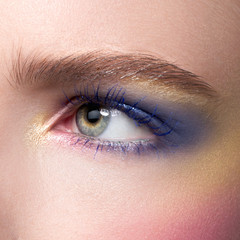 Beautiful blue eyes with bright creative cosmetics. Long eyebrows and dense eyelashes create the fashionable image. Evening cosmetics, cosmetics, cosmetology