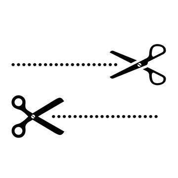 Cut line scissors vector icon