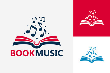 Modern Book Music Logo Template Design Vector, Emblem, Design Concept, Creative Symbol, Icon