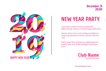 2019 Happy New Year paper craft holiday background. Vector winter holiday party invitation with paper cut numbers 2019 design for seasonal flyers, banners, posters.