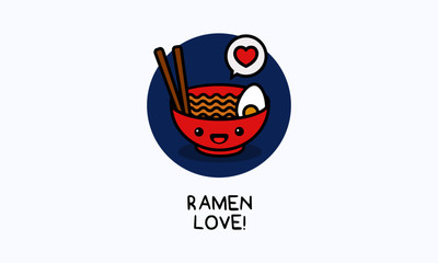 Ramen Bowl Love Poster Vector Illustration in Flat Style Line Art