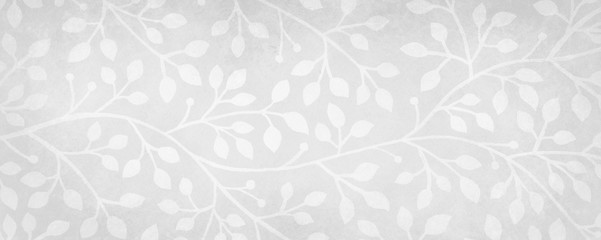 white background with floral wedding design or ivy and vine pattern with old gray vintage texture