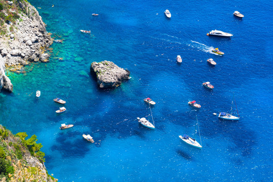 Deep blue see in Capri island, italy