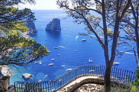 Beautifu view of Capri island from luxury terrace