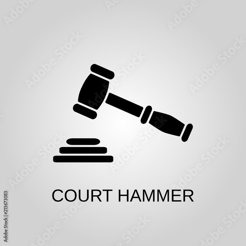 Court Hammer Icon Court Hammer Symbol Flat Design Stock Vector