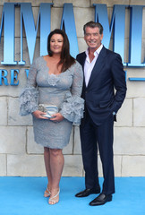 Pierce Brosnan and Keely Shaye Smith attend the world premiere of Mamma Mia! Here We Go Again at the Apollo in Hammersmith, London