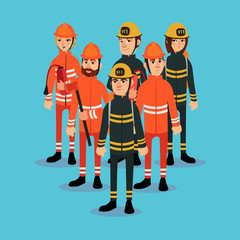 The fire brigade in bright work clothes. Vector illustration