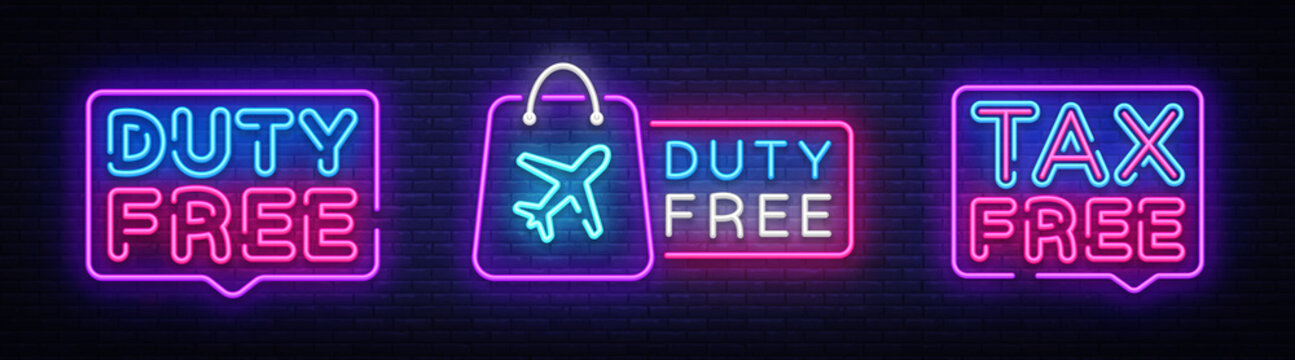 Duty Free neon signboard collection vector. Tax free neon glowing letters shining, Light Banner, neon text. Vector illustration. Billboard