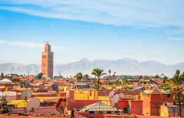 Deurstickers Marokko Panoramic view of Marrakech and old medina, Morocco