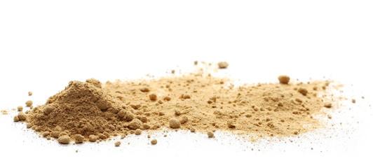 Ginger powder isolated on white, (Zingiber officinale)