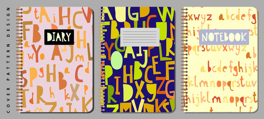 Notebook and diary cover design for print with seamless pattern included.