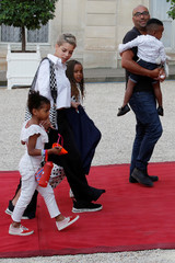 Family of France's soccer player Blaise Matuidi arrives to attend a reception to honour the France soccer team after their victory in the 2018 Soccer World Cup, at the Elysee Palace in Paris