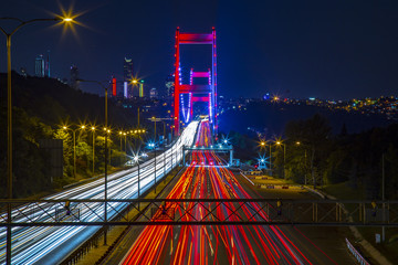 Long Exposure flowing traffic view from Istanbul during twilight