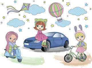 BLYTHE GIRLS Color Vector Illustration Set for Scrapbooking and Digital Print on Card And Photo Children's Albums