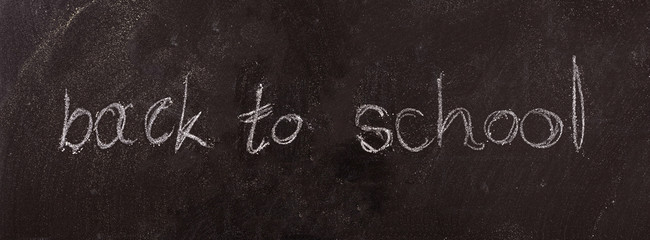 Back to school drawing on blackboard, isolated, banner.