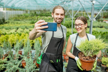 Couple of gardeners making selfie photo standing together with plant in the greenhouse
