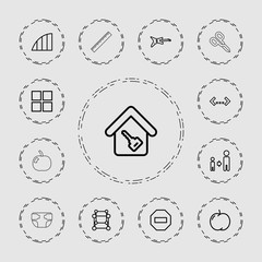 Collection of 13 geometric outline icons