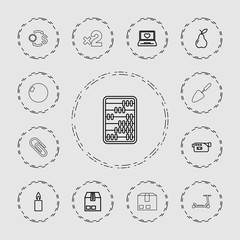 Collection of 13 single outline icons